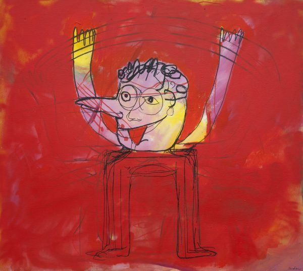 """Figure in Red"" - by Moich Abrahams (original) - Buy original artwork & prints in the Curat10n Art Shop"