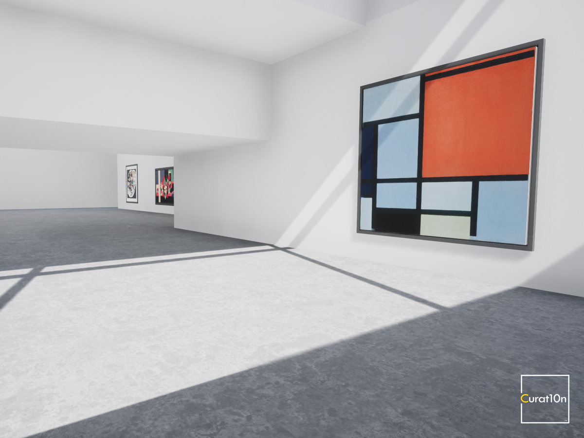 4-3 Mondrian - virtual gallery - 3d immersive art exhibition and interactive artist visualisation - curat10n